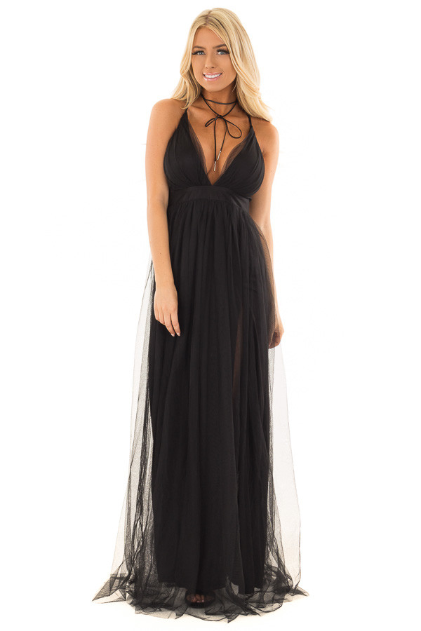 Black Layered Full Length Flowy Gown front full body