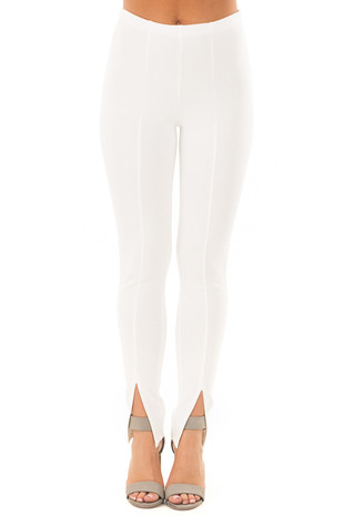 Off White Pants with Middle Seam and Split Hem front