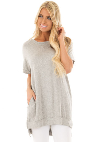 Heather Grey Crew Neck Tunic with Hidden Pockets front closeup