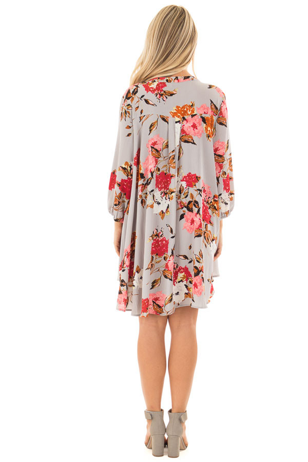 Cloud Grey Floral Print Flowy Tunic with Hidden Pockets back full body