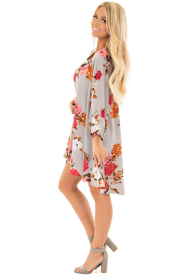 Cloud Grey Floral Print Flowy Tunic with Hidden Pockets side full body
