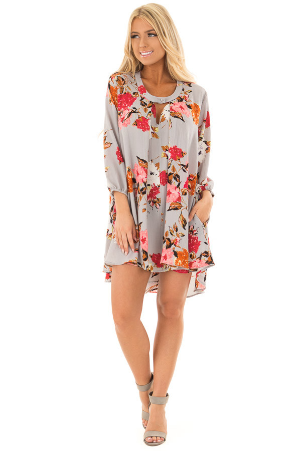 Cloud Grey Floral Print Flowy Tunic with Hidden Pockets front full body