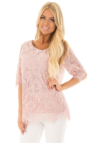 Faded Pink Sheer Lace Top front closeup