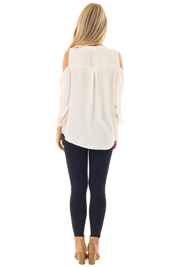 Cream Surplice Cold Shoulder Blouse with Chest Cutout back full body
