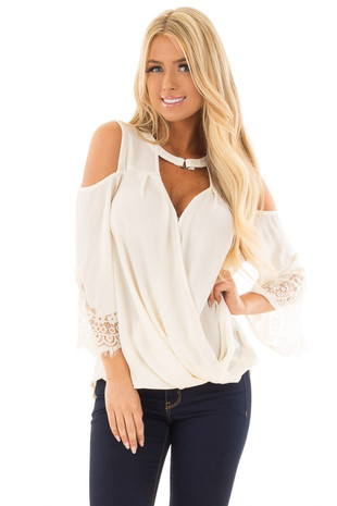 Cream Surplice Cold Shoulder Blouse with Chest Cutout front closeup