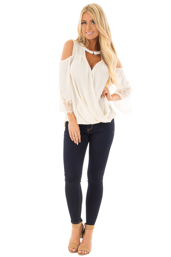 Cream Surplice Cold Shoulder Blouse with Chest Cutout front full body
