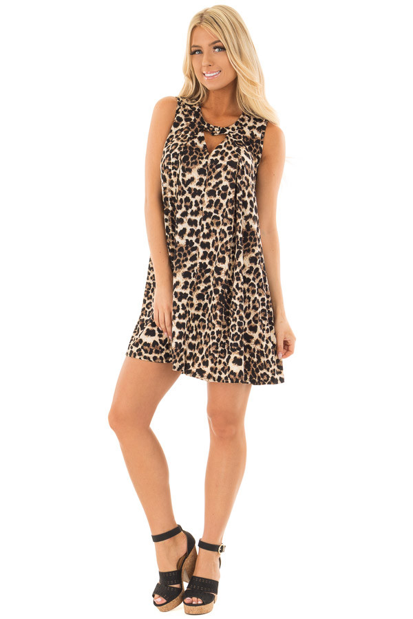 Leopard Print Swing Dress with Keyhole Neckline front full body