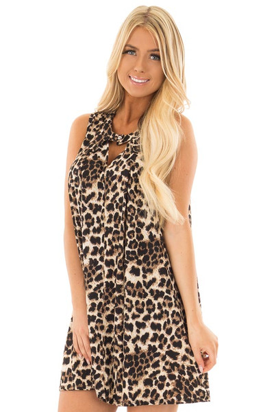 Leopard Print Swing Dress with Keyhole Neckline front closeup