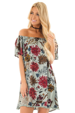 Blue Sage Floral Print Off the Shoulder Dress front closeup