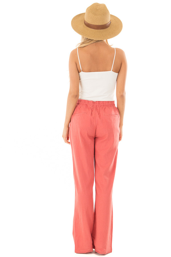 Faded Rose Comfy Linen Trousers with Drawstring Waist back full body
