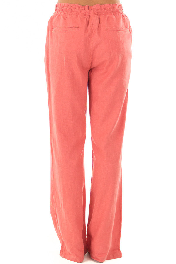 Faded Rose Comfy Linen Trousers with Drawstring Waist back view