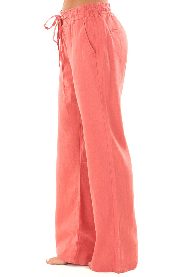 Faded Rose Comfy Linen Trousers with Drawstring Waist side view
