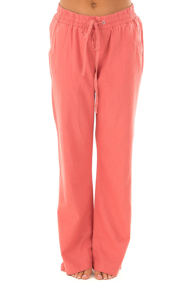 Faded Rose Comfy Linen Trousers with Drawstring Waist front view