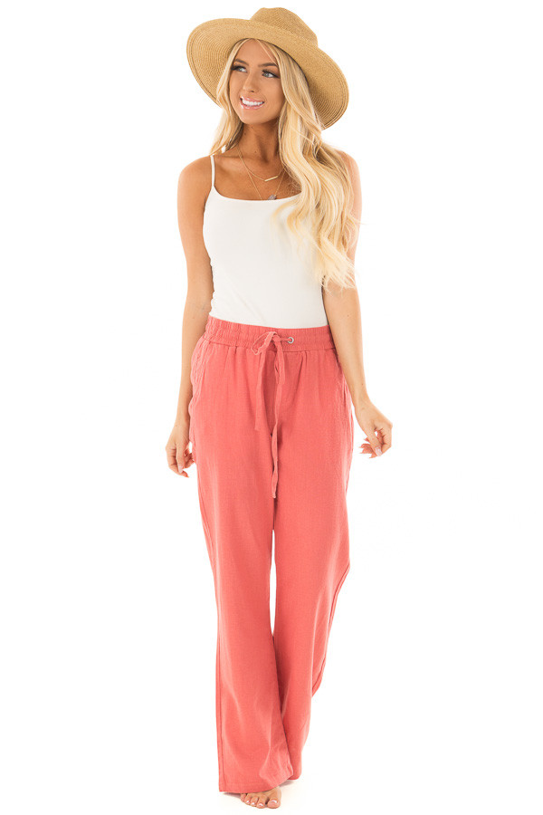 Faded Rose Comfy Linen Trousers with Drawstring Waist front full body
