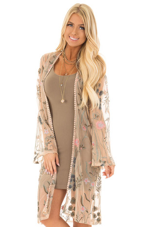 Nude Embroidered Floral Kimono with Crochet Trim front closeup