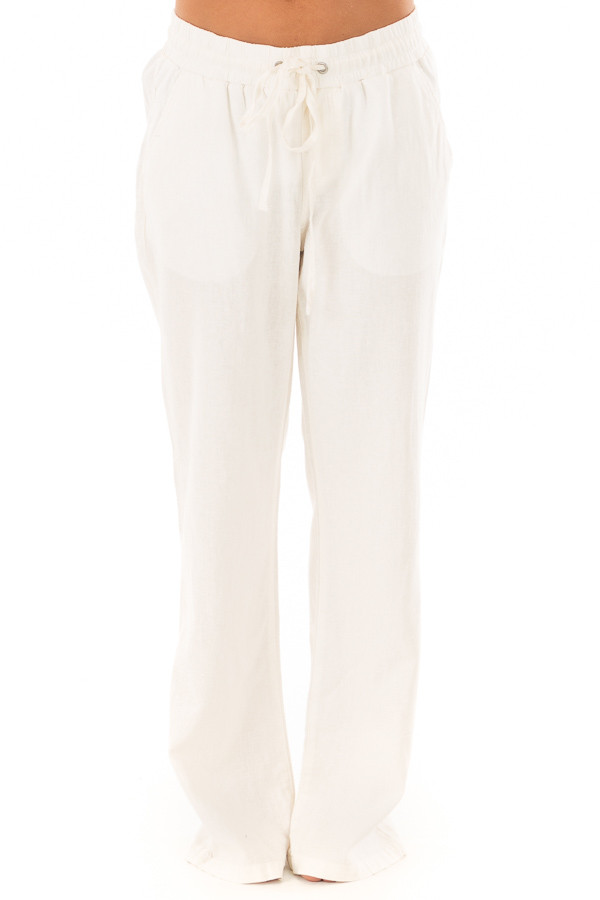 Ivory Comfy Linen Trousers with Drawstring Waist front view
