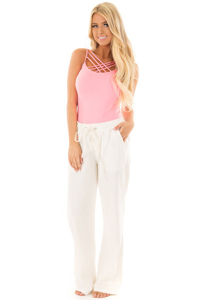 Ivory Comfy Linen Trousers with Drawstring Waist front full body