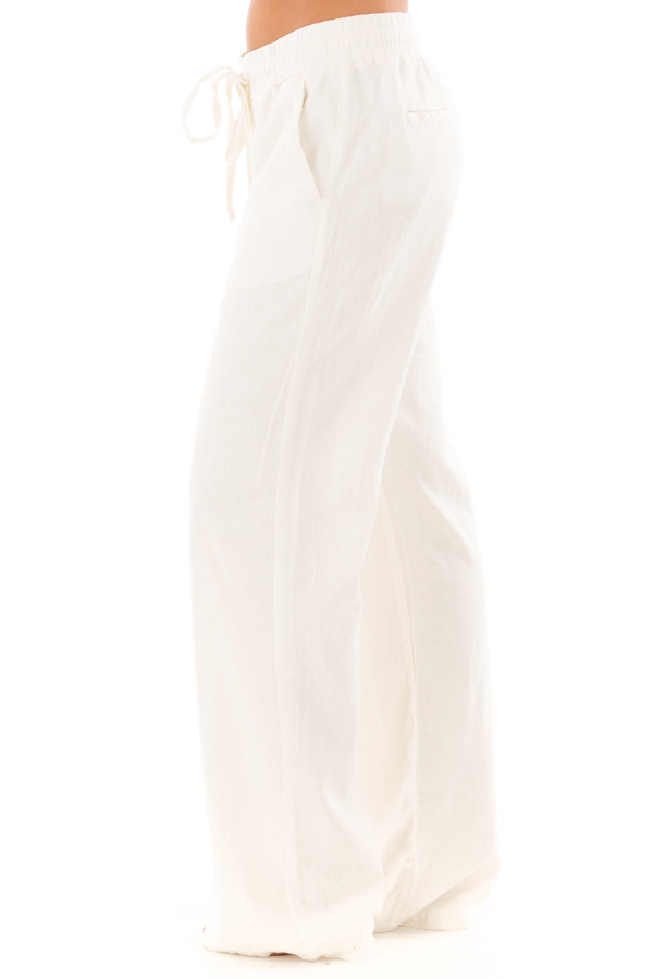 Ivory Comfy Linen Trousers with Drawstring Waist side view