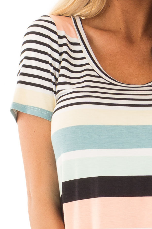 Multicolor Striped Short Sleeve Tee Shirt front detail