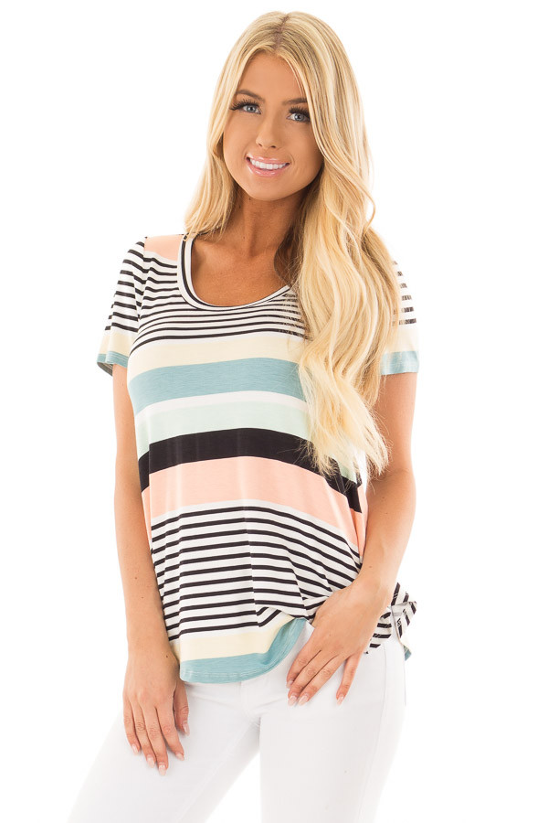 Multicolor Striped Short Sleeve Tee Shirt front closeup