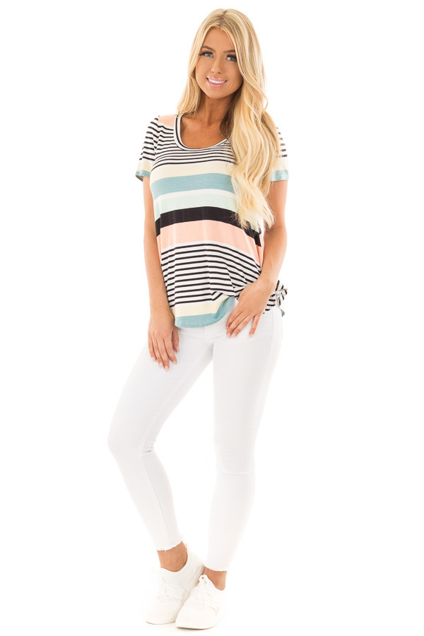 Multicolor Striped Short Sleeve Tee Shirt front full body