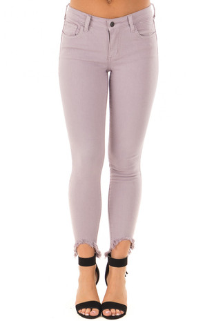 Lavender Mid Rise High Low Skinny Jeans with Fray Detail front