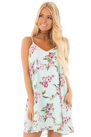 Mint Floral V Neck Dress front closeup