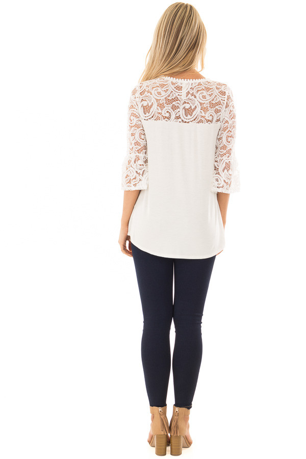 Ivory 3/4 Bell Sleeve Top with Sheer Lace Contrast back full body