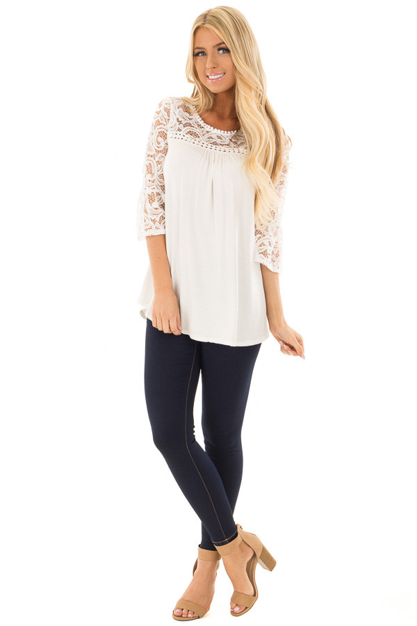 Ivory 3/4 Bell Sleeve Top with Sheer Lace Contrast front full body