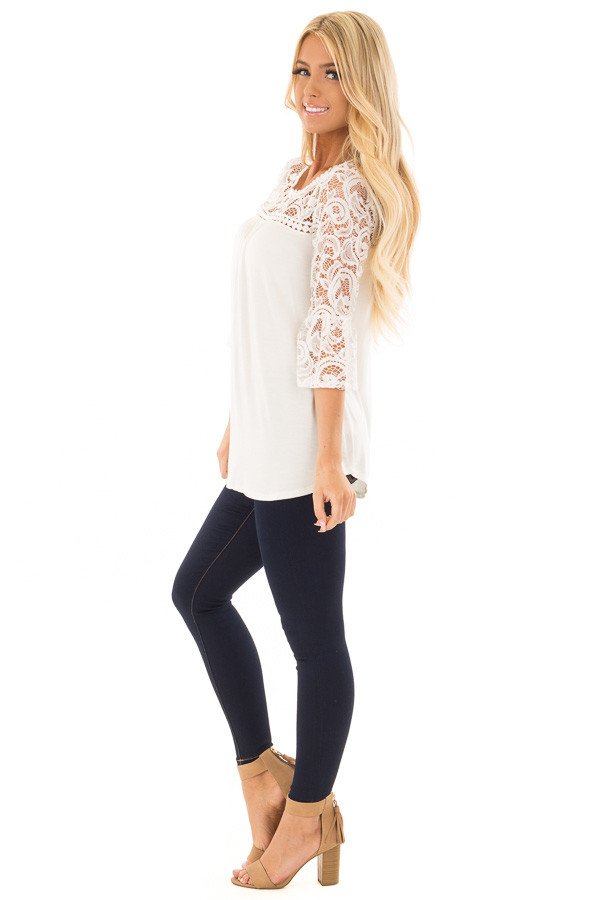 Ivory 3/4 Bell Sleeve Top with Sheer Lace Contrast side full body