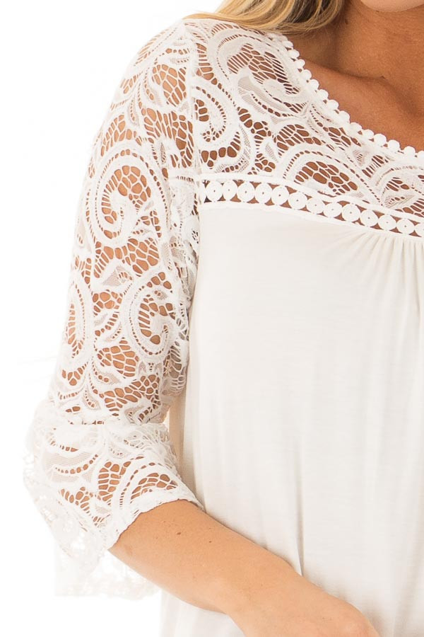 Ivory 3/4 Bell Sleeve Top with Sheer Lace Contrast front detail