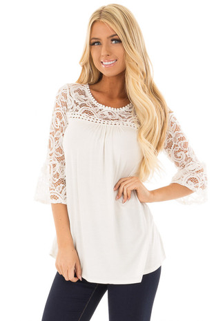 Ivory 3/4 Bell Sleeve Top with Sheer Lace Contrast front closeup