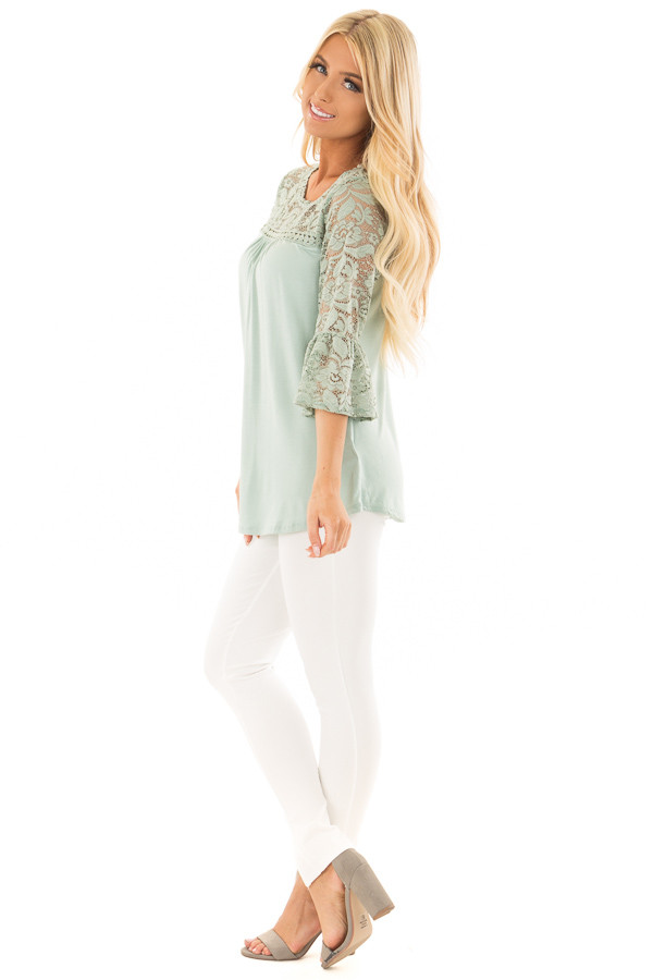 Blue Sage 3/4 Bell Sleeve Top with Sheer Lace Contrast side full body