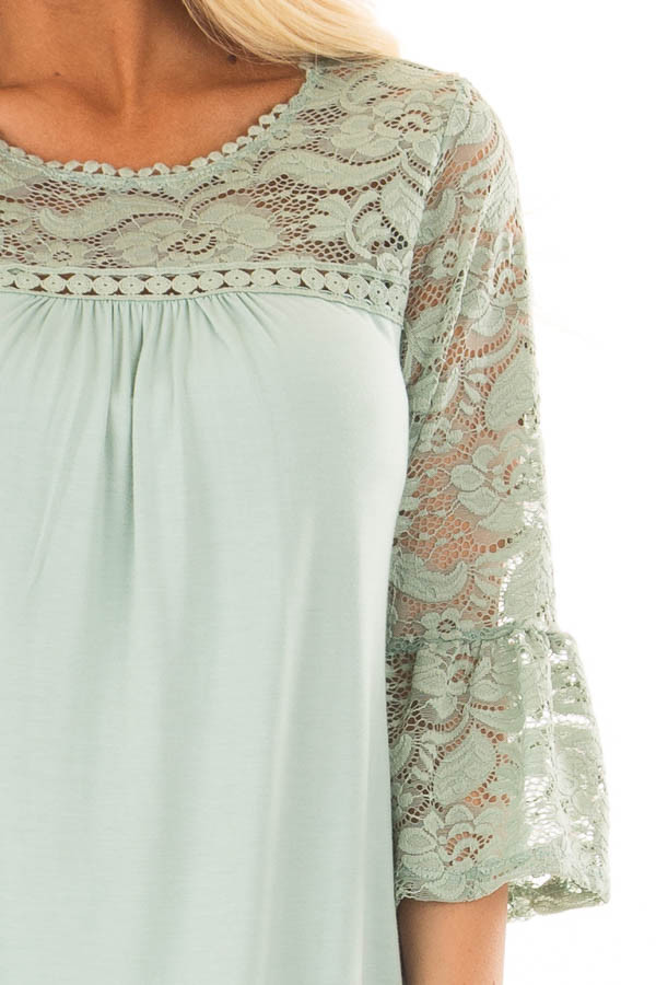 Blue Sage 3/4 Bell Sleeve Top with Sheer Lace Contrast front detail