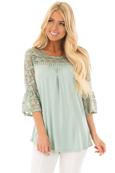 Blue Sage 3/4 Bell Sleeve Top with Sheer Lace Contrast front closeup