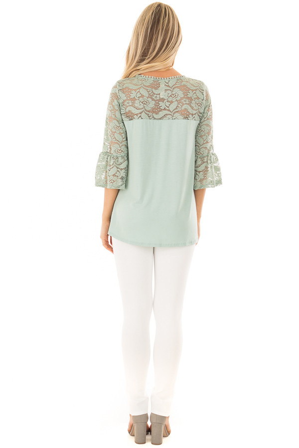 Blue Sage 3/4 Bell Sleeve Top with Sheer Lace Contrast back full body