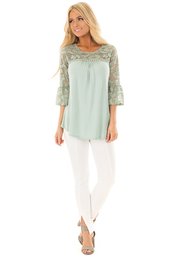 Blue Sage 3/4 Bell Sleeve Top with Sheer Lace Contrast front full body