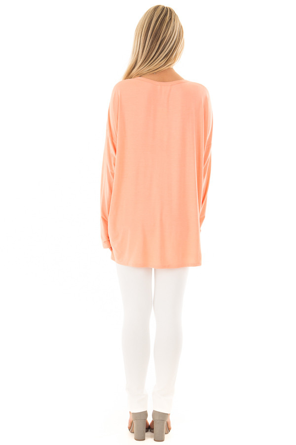 Coral Lace Up Long Sleeve Dolman Top back full body