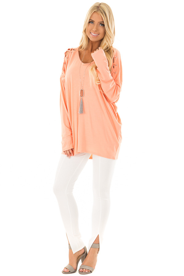 Coral Lace Up Long Sleeve Dolman Top front full body