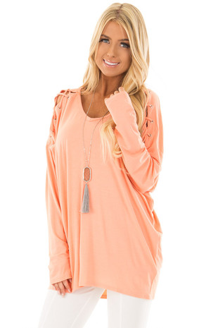Coral Lace Up Long Sleeve Dolman Top front closeup