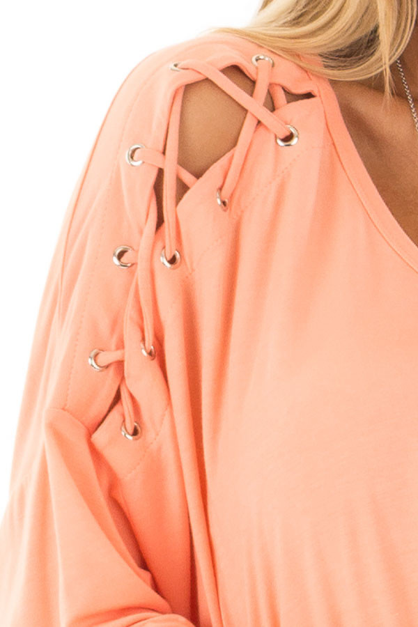 Coral Lace Up Long Sleeve Dolman Top front detail