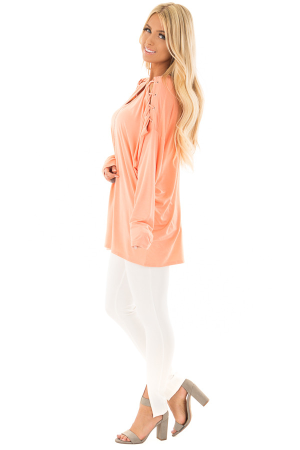 Coral Lace Up Long Sleeve Dolman Top side full body