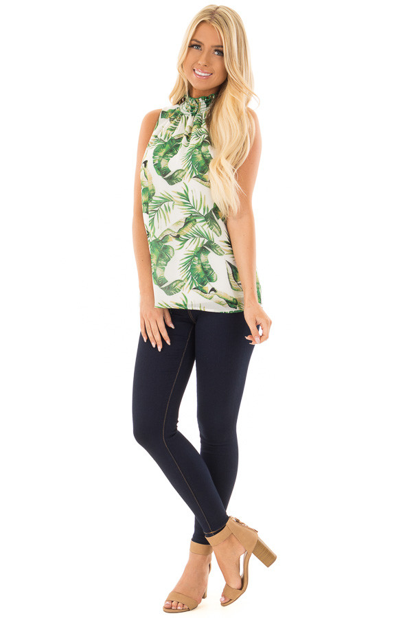 White Jungle Print Tank Top with Smocked Neckline front full body