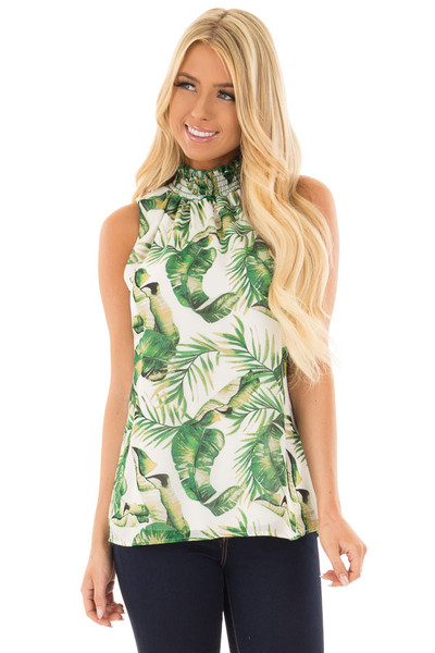 White Jungle Print Tank Top with Smocked Neckline front closeup