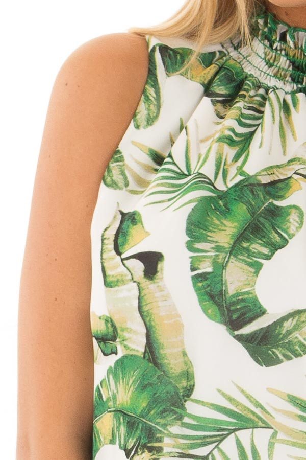 White Jungle Print Tank Top with Smocked Neckline front detail