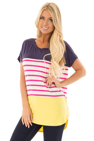 Navy and Yellow Solid and Striped Short Sleeve Top front closeup
