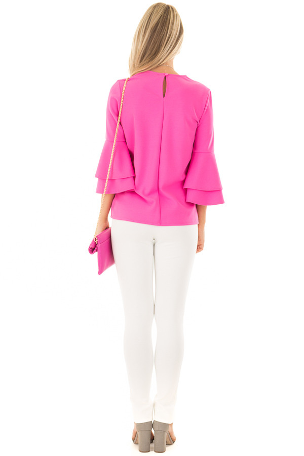 Bright Fuchsia Tiered Bell Sleeve Top back full body