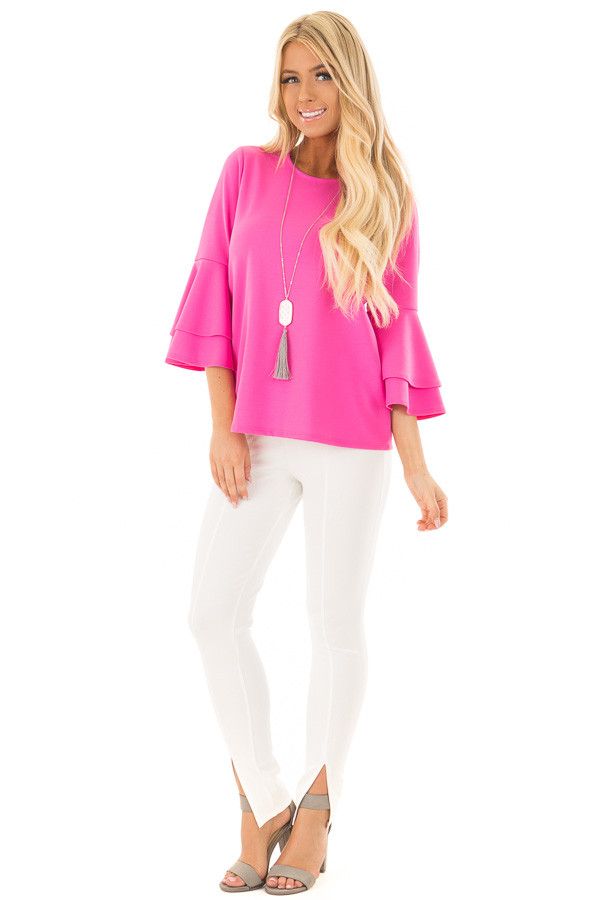 Bright Fuchsia Tiered Bell Sleeve Top front full body
