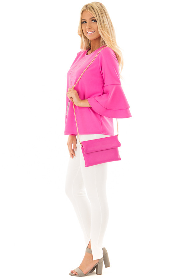 Bright Fuchsia Tiered Bell Sleeve Top side full body