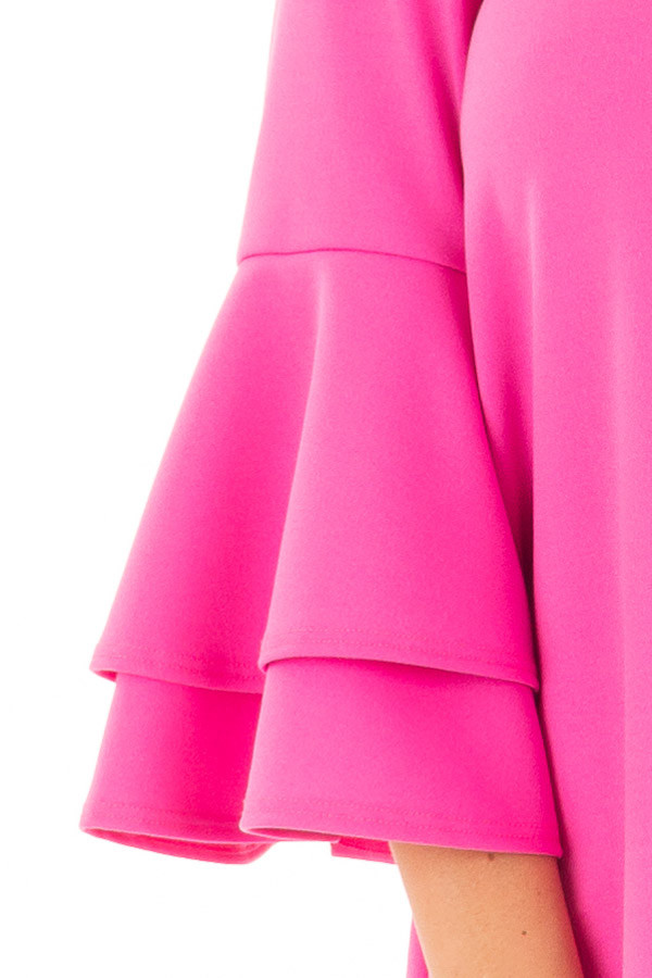 Bright Fuchsia Tiered Bell Sleeve Top front detail